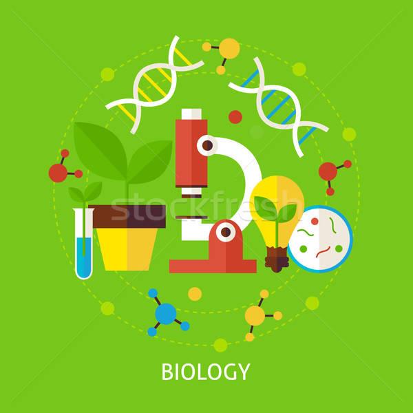 Biologii nauki wektora plakat projektu kolekcja Zdjęcia stock © Anna_leni