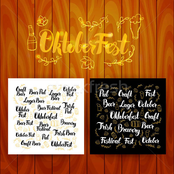 Oktober Fest Lettering Postcards Stock photo © Anna_leni