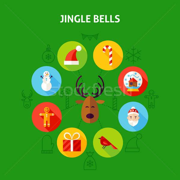 Stockfoto: Vrolijk · christmas · cirkel · ontwerp · iconen