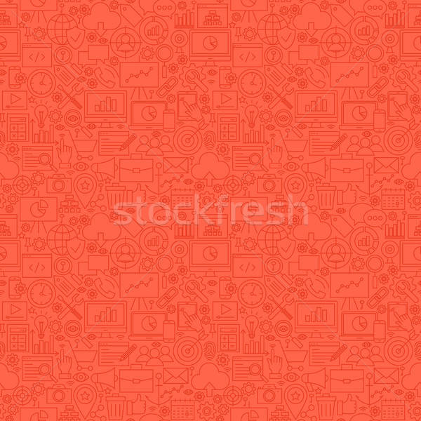 Stock photo: Red Line SEO Seamless Pattern