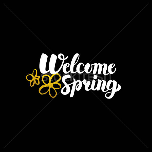 Bem-vindo primavera caligrafia natureza Foto stock © Anna_leni