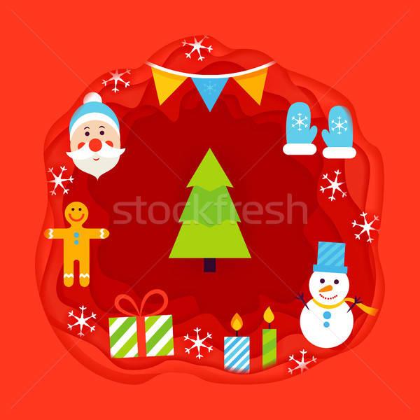Christmas Papercut Concept Stock photo © Anna_leni