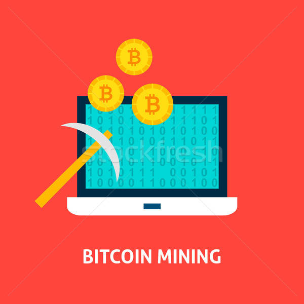 Bitcoin mining laptop finanziaria tecnologia business Foto d'archivio © Anna_leni