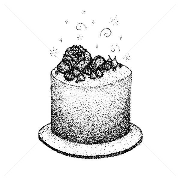 Dotwork Birthday Cake Stock photo © Anna_leni