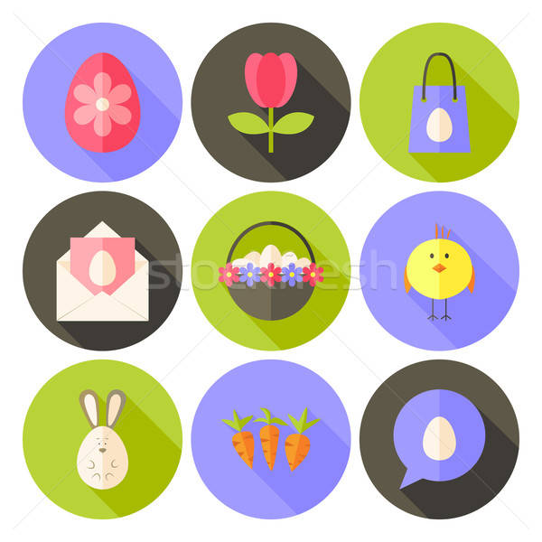 Easter flat styled circle icon set 2 with long shadow Stock photo © Anna_leni