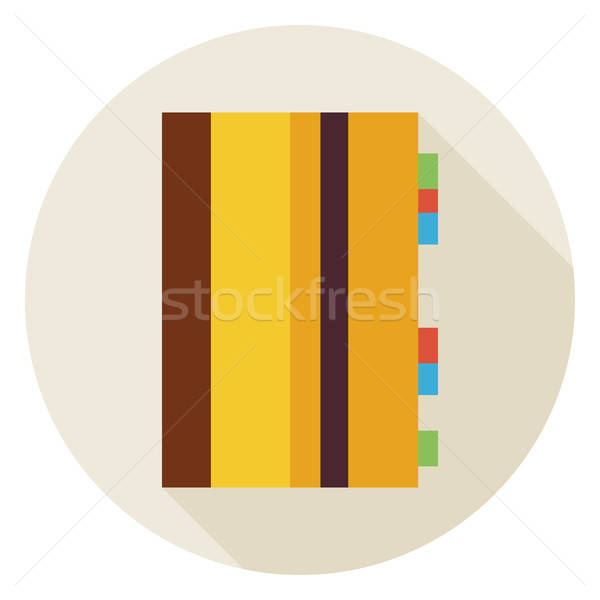 Flat Office Notepad Circle Icon with Long Shadow Stock photo © Anna_leni