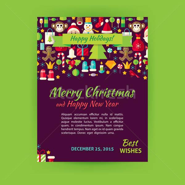 Merry Christmas Holiday Vector Template Banner Flyer Modern Flat Stock photo © Anna_leni