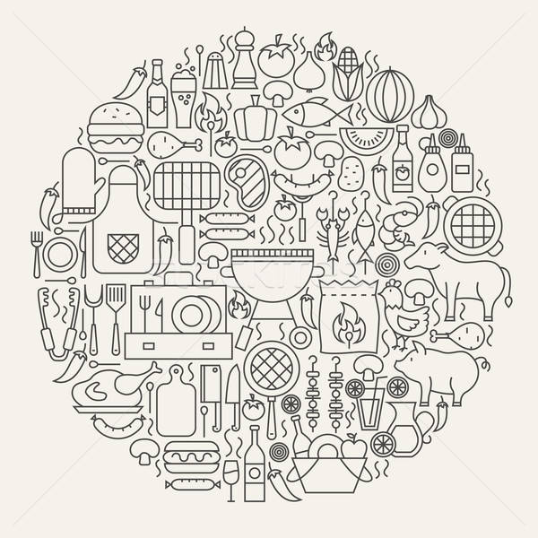 Barbecue Party Line Icons Circle Stock photo © Anna_leni