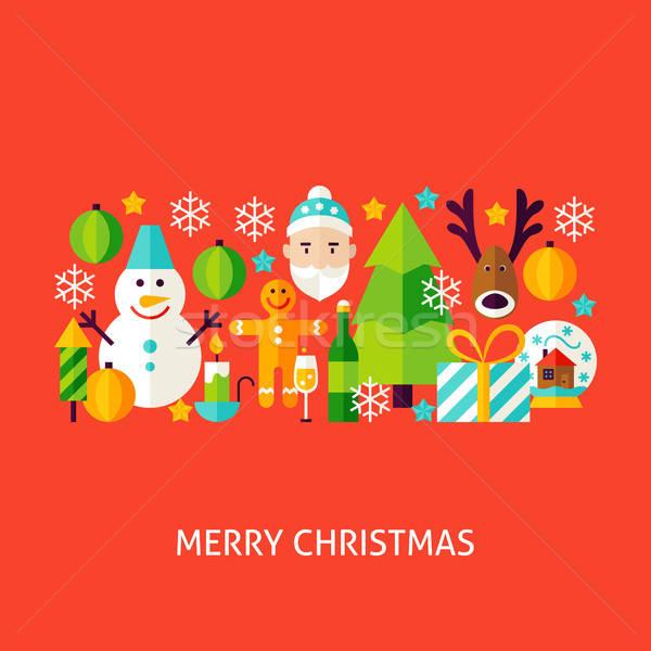Neşeli Noel tebrik poster dizayn kış Stok fotoğraf © Anna_leni