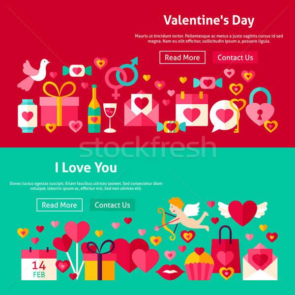 Boldog Valentin nap nap weboldal bannerek háló Stock fotó © Anna_leni