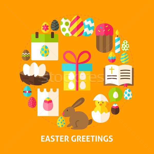 Stock fotó: Húsvét · üdvözlet · kártya · poszter · terv · gyűjtemény