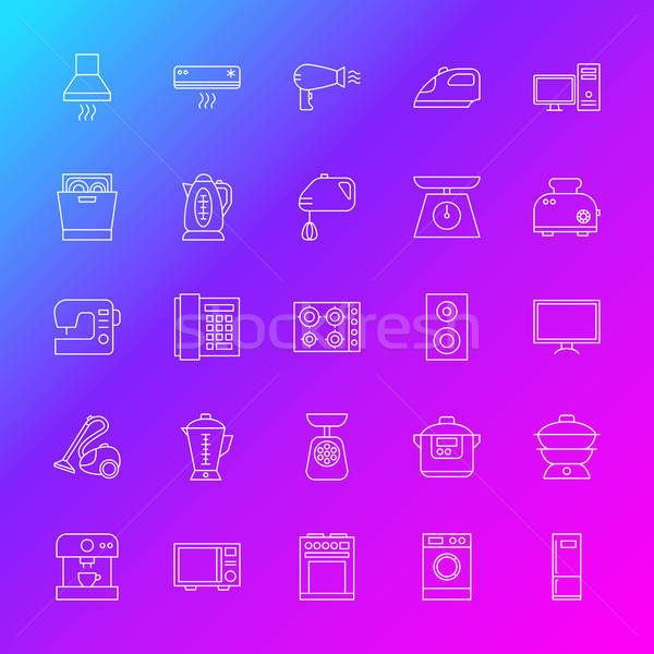 Household Appliance Line Icons Stock photo © Anna_leni