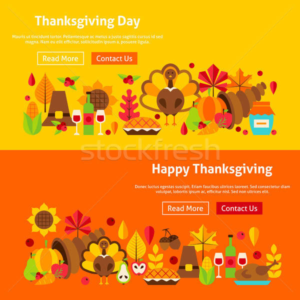 Thanksgiving Day Website Banners Stock photo © Anna_leni