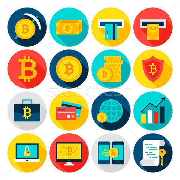 Bitcoin para simgeler daire finansal Stok fotoğraf © Anna_leni