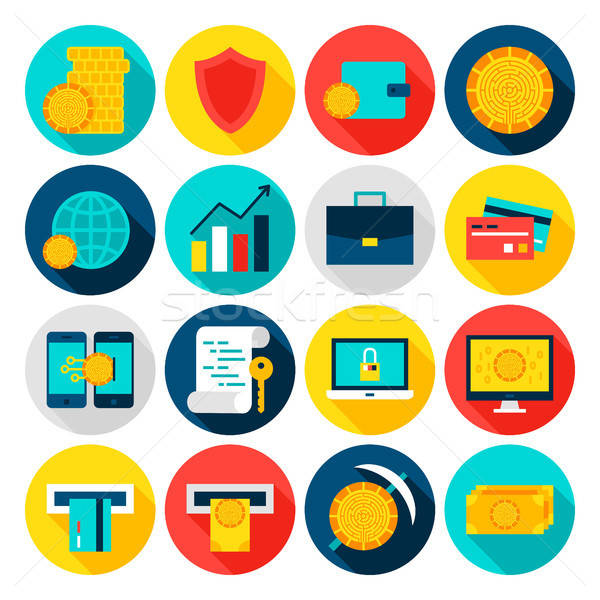 Cryptocurrency Flat Icons Stock photo © Anna_leni