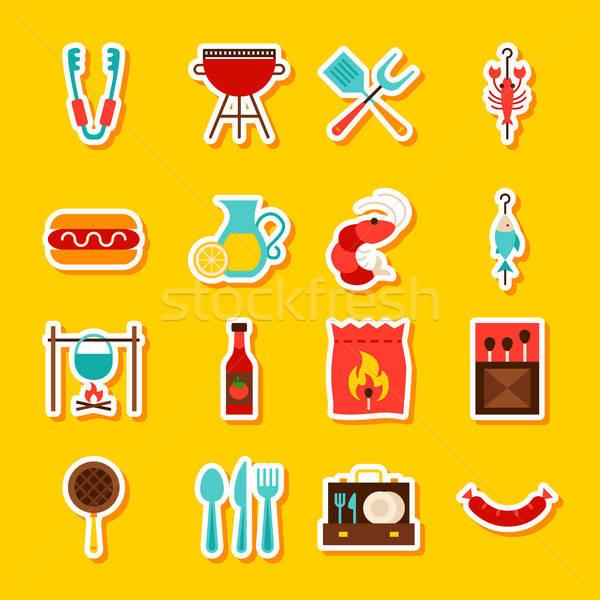 BBQ Party Stickers Stock photo © Anna_leni