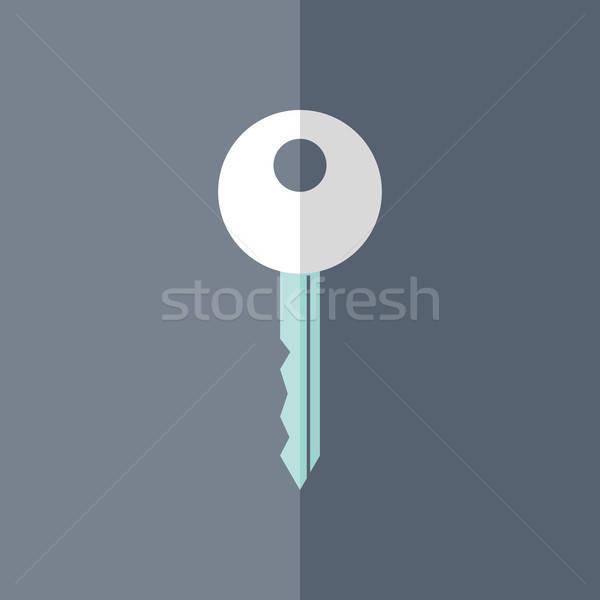 Flat white mint key icon over blue Stock photo © Anna_leni