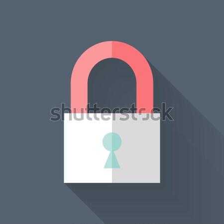 Fermé cadenas icône bleu sécurité signe Photo stock © Anna_leni
