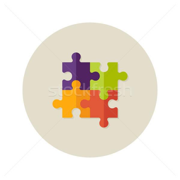 Teamwork Puzzle Four Flat Icon Stock photo © Anna_leni