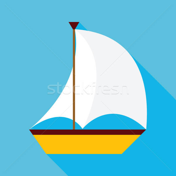 Flat Sailing Ship with Long Shadow Stock photo © Anna_leni