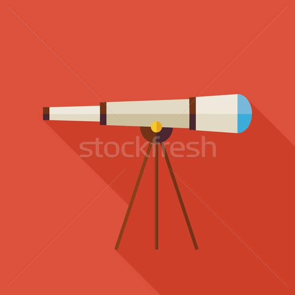 Flat Space Instrument Telescope Illustration with long Shadow Stock photo © Anna_leni