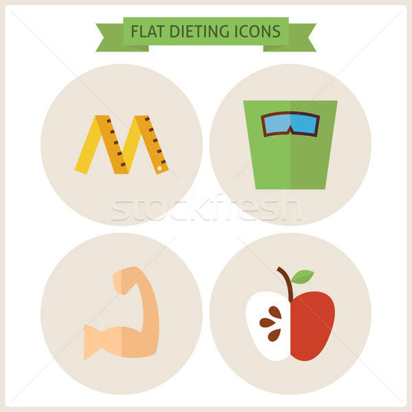 Flat Fitness Dieting Website Icons Set Stock photo © Anna_leni