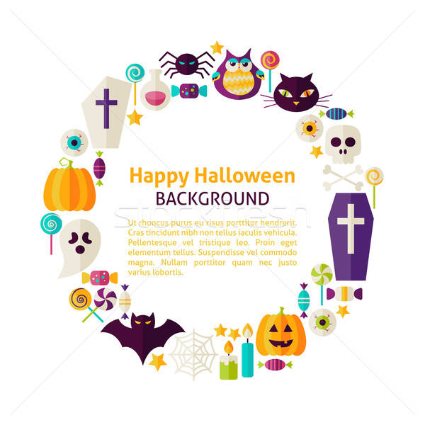 Flat Style Vector Circle Template Collection of Halloween Holida Stock photo © Anna_leni