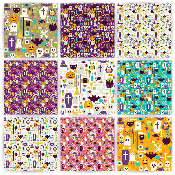 Nine Vector Flat Seamless Halloween Party Patterns Collection Stock photo © Anna_leni