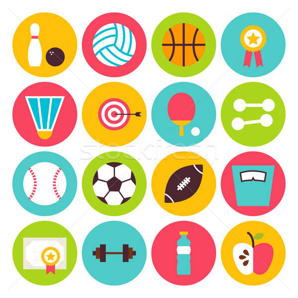 Flat Sport Recreation and Fitness Circle Icons Set Stock photo © Anna_leni