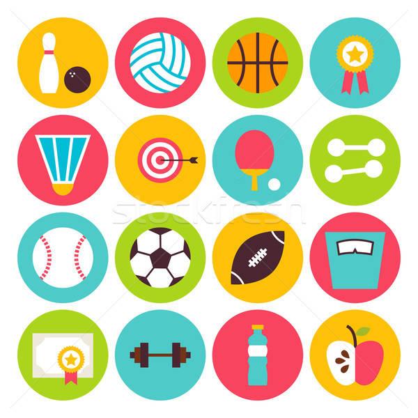 Sport kikapcsolódás fitnessz kör ikon szett gyűjtemény Stock fotó © Anna_leni
