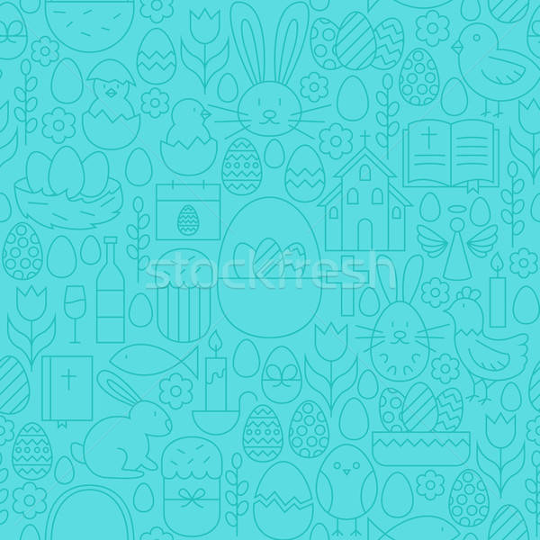 Thin Happy Easter Line Seamless Blue Pattern Stock photo © Anna_leni