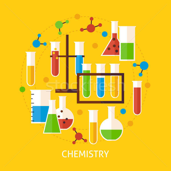 Chemistry Science Flat Vector Concept Stock photo © Anna_leni