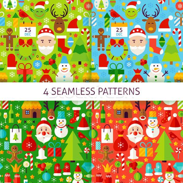 Four New Year Seamless Patterns Stock photo © Anna_leni