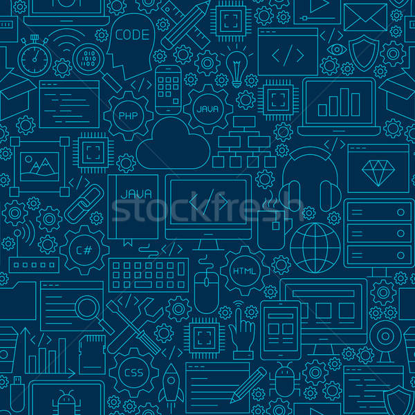 Dark Programming Line Seamless Pattern Stock photo © Anna_leni