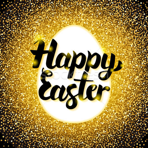 Happy Easter Gold Greeting Stock photo © Anna_leni