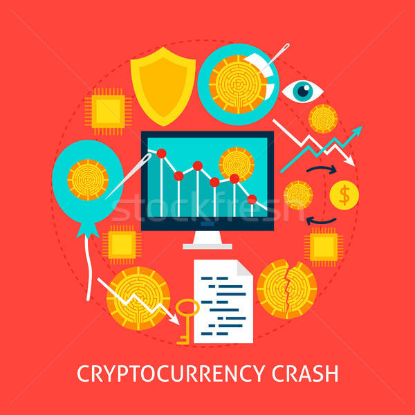 Cryptocurrency Crash Flat Concept Stock photo © Anna_leni