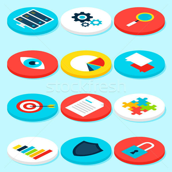 Big Data Analytics Isometric Icons Stock photo © Anna_leni