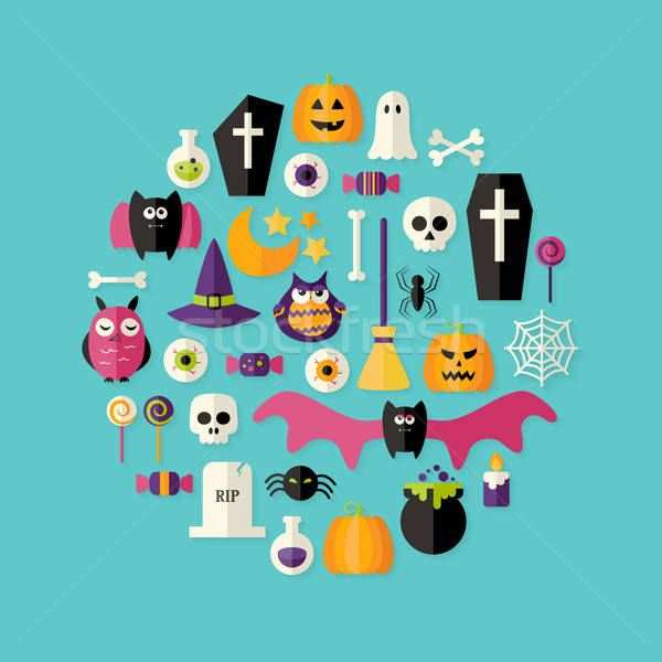 Stock photo: Halloween Flat Icons Set Over Blue