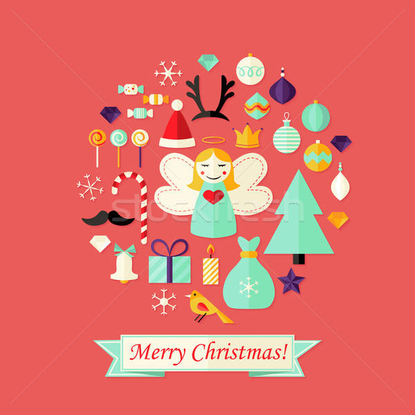 Christmas Card with Flat Icons Set and Angel Red Stock photo © Anna_leni