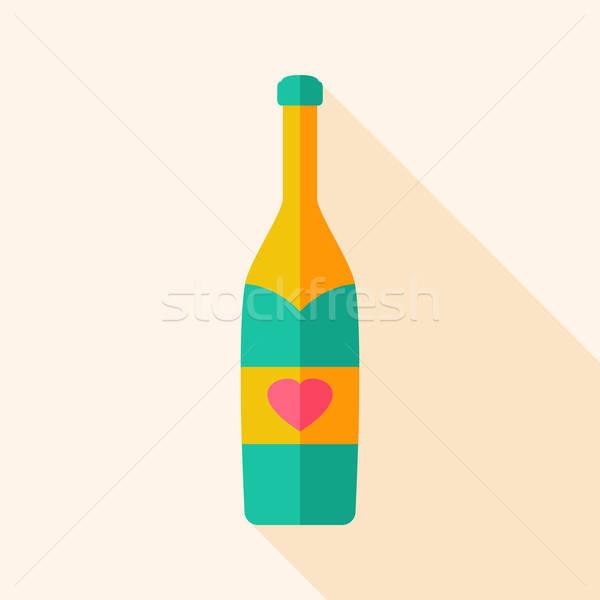 алкоголя бутылку сердце стилизованный объект долго Сток-фото © Anna_leni
