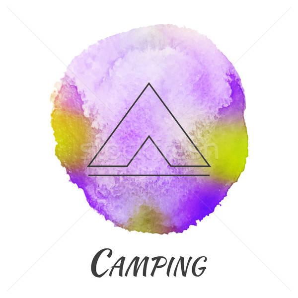 Camping tenda viaggio vettore acquerello turismo Foto d'archivio © Anna_leni