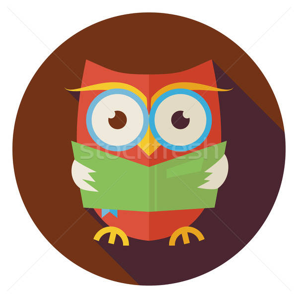 Flat Wisdom Bird Owl Reading Book Circle Icon with Long Shadow Stock photo © Anna_leni