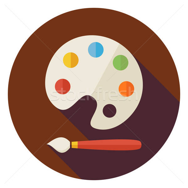 Flat Colorful Palette with Paintbrush Circle Icon with Long Shad Stock photo © Anna_leni