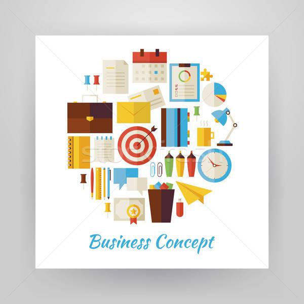 Estilo círculo vector establecer negocios lugar de trabajo Foto stock © Anna_leni