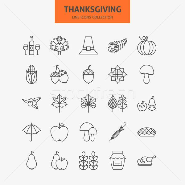 Stockfoto: Lijn · dankzegging · dag · vakantie · iconen · groot