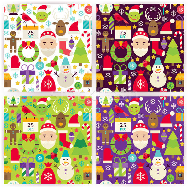 Stock photo: Four Vector Flat Merry Christmas Patterns Set
