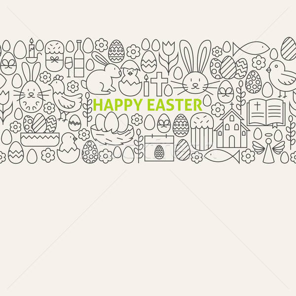 Happy Easter Line Art Icons Seamless Web Banner Stock photo © Anna_leni