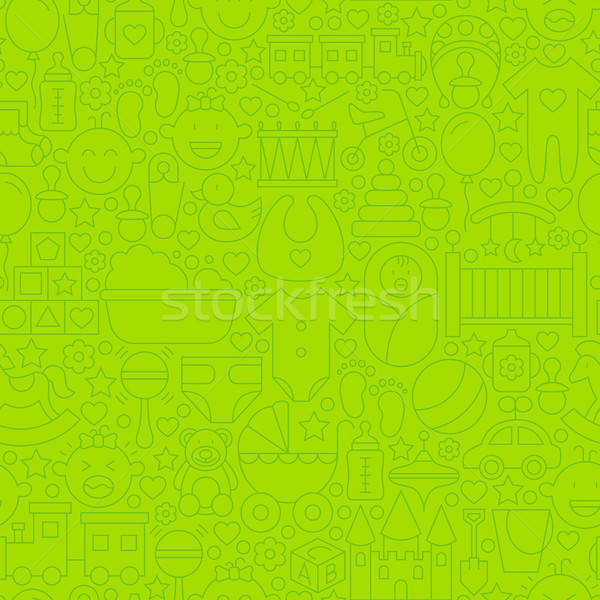 Stock photo: Thin Line Green Baby Toys Seamless Pattern