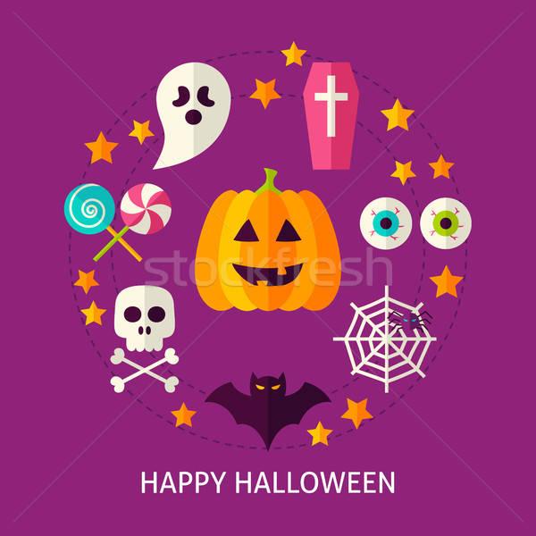 Szczęśliwy halloween kartkę z życzeniami plakat projektu kolekcja Zdjęcia stock © Anna_leni
