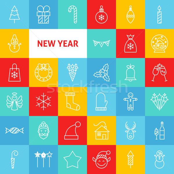 Сток-фото: линия · с · Новым · годом · иконки · тонкий · веселый